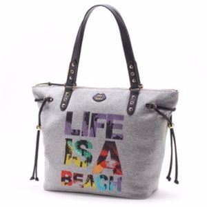 JUICY COUTURE Gray Large Life Is A Beach Tote Bag